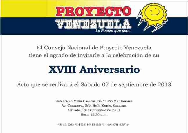Invitación XVIII Aniversario de Proyecto Venezuela